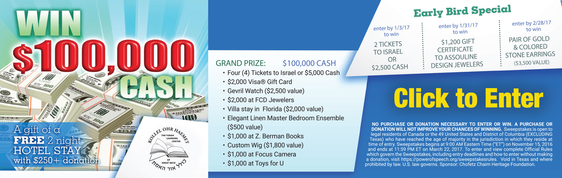 Kollel Great Neck $100,000 CASH Raffle Campaign